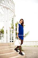 """Синее стильное платье из ангоры и шифона """"Ученица"""""""