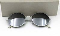 Солнцезащитные круглые очки (уценка) металлическая оправа серебристого цвета, зеркальные линзы