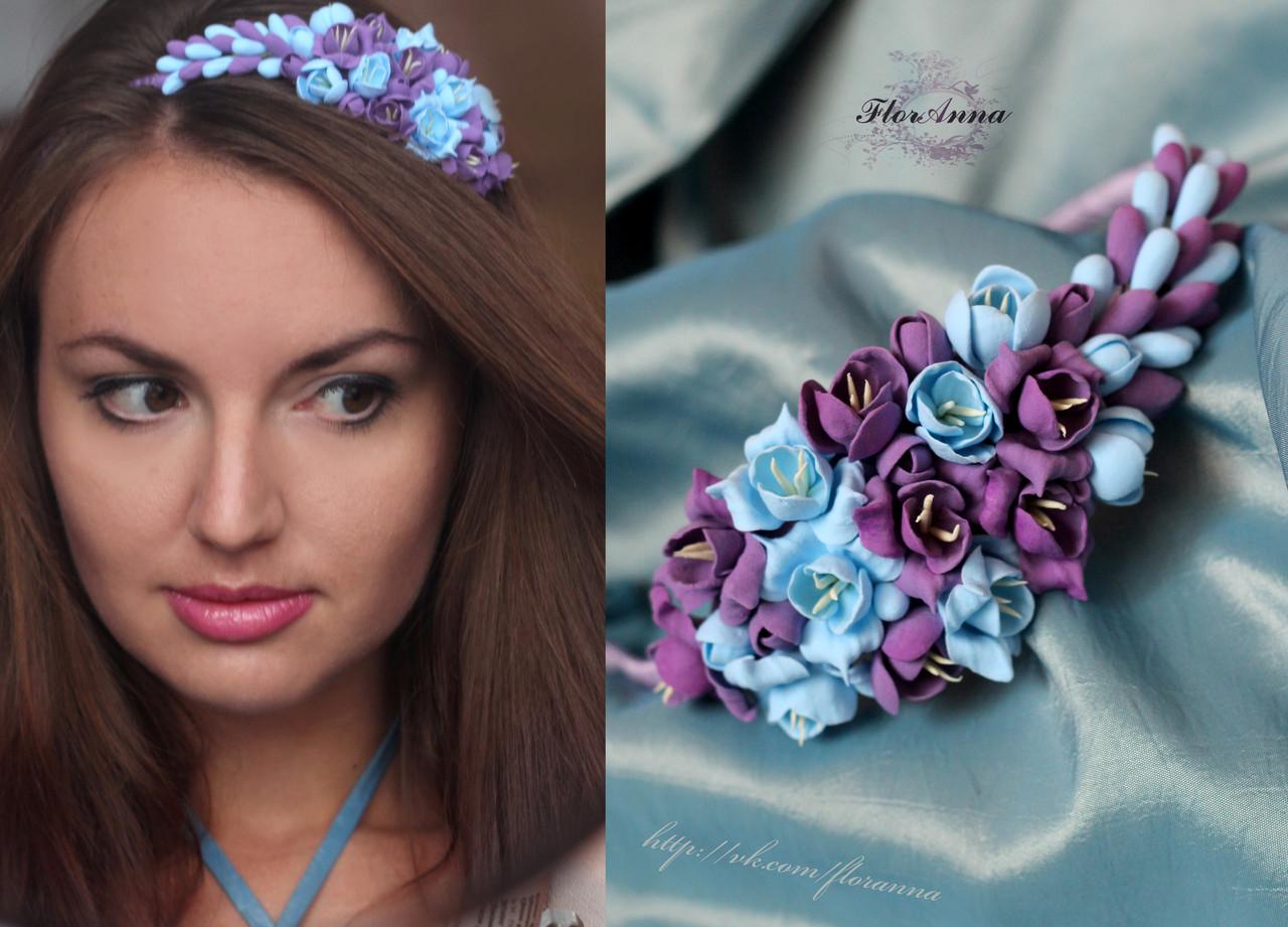 Как сделать ободок с цветами на фото