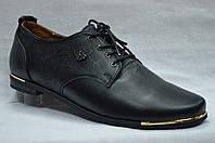 Туфли темно-синие  кожаные  со шнурками. Украина.