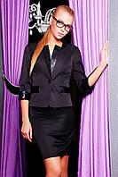 Женский стильный пиджак с кожаными вставками черный р.S,M,XL