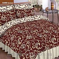 5400 коричневый Полуторное постельное белье ранфорс Platinum Viluta