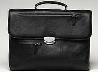 Портфель мужской кожаный на два отделения Vip Collection 1228A flat черный