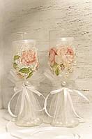 Свадебные бокалы и бутылка для шампанского «Винтаж»