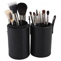 Профессиональные кисти для макияжа  MAC 12 штук в черном футляре-тубусе