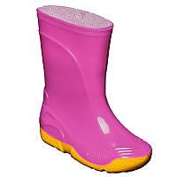 РезиНовые сапоги VIVID детские Розовые [на желтой подошве] OLDCOM