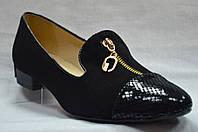Туфли замшевые лакированный носик с молнией спереди Польша
