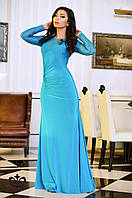 Вечернее длинное платье из французского стрейч-гипюра и микромасла