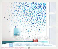 """Наклейка на стену, виниловые наклейки, стикеры """"Синий цвет"""" 106 цветочков и 7 бабочек в наборе (лист20*60см)"""