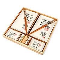 Китайский набор для суши белый в деревянной коробке S149-1