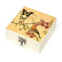 "Подставки под чашки (4шт.) в деревянной коробке ""Бабочки"" HLMB1032"