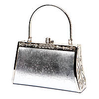 Маленькая сумочка через плечо серебристая S06