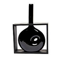 Большая ваза для цветов с отверстием в черном обрамлении S09020B