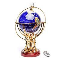 Глобус с подсветкой подарочный сувенир из полудрагоценных камней BS220T