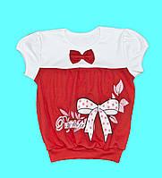 """Блузка для девочки с коротким рукавом """"Бантик"""""""