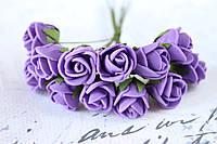 Букетик розочек 2 см диаметр мини 12 шт. фиолетового цвета на стебле