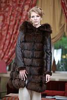 """Шуба меховое пальто полушубок жилет из чернобурки цвета """"коньяк"""" и натурального дубляжа"""