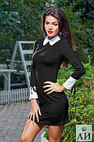 Платье чёрное с белым воротом и белыми манжетами № 1184 аи