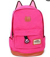 Яркий  Модный городской рюкзак котик с ушками, розовый