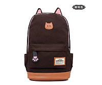 Стильный Городской Молодежный Рюкзак котик с ушками, коричневый