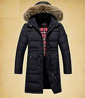 Зимний мужской удлинённый пуховик пальто JEEP, чёрный. РАЗМЕР 4XL