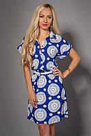 Синие женское платье в геометрический белый рисунок