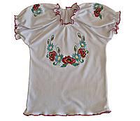 Детская блузка вышиванка для девочки, с коротким рукавом