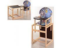 Детский стульчик для кормления трансформер Vivast № 2  с большой спинкой и рисунком