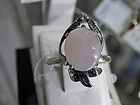 Кольцо серебряное с розовым кварцем