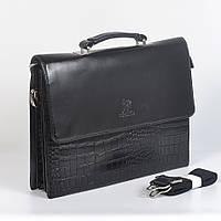 Мужская деловая сумка через плече (портмоне) из крокодильей кожи - Код 9902-6 - (черная)