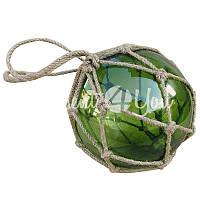 Морской сувенир стеклянный зеленый шар в сетке Sea Club, d-15 см.