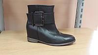 Ботинки осенние натуральная кожа скрытая танкетка+каблук черные