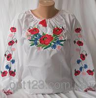 Нарядная детсткая сорочка вышиванка для девочки Маки элит