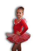 Купальник - пачка для гимнастики и танцев. Красный. Rivage Line 0184LB