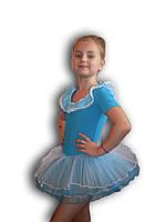 Купальник - пачка для гимнастики и танцев. Голубой. Rivage Line 0184TB