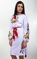 Женское вышитое платье в красно-зеленых тонах, фото 1