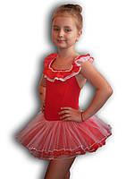 Купальник - пачка для гимнастики и танцев. Красный. Rivage Line 0184B