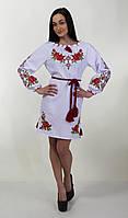 Стильное  вышитое платье с поясом, фото 1