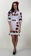 Оригинально платье-вышиванка с маками, фото 1