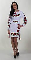 """Вышитое платье """"МАК-113"""" на габардине с растительным узором, фото 1"""