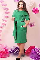 Красивое женское платье с вставками из эко-кожи