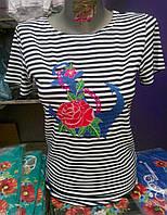 """Женская футболка с вышивкой """"Большой Якорь"""" короткий рукав"""