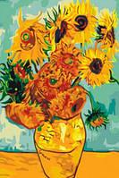 "Картины по номерам на холсте ""Подсолнухи"" по мативам картины Ван Гога 5034"