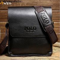 Мужская кожаная сумка Polo. Мужская сумка через плечо.