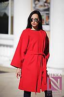 Женское красное кашемировое пальто с поясом
