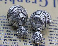Стильные серьги пуссеты, цвет серебро