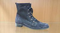 Ботинки из натуральной замши синего цвета на шнурках