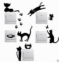 """Наклейка на стену, виниловые наклейки, украшения стены наклейки """"Черные Коты на выключатели, розетки 5шт"""""""