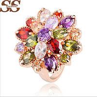 Кольцо разноцветные цирконы цветок  Roxi