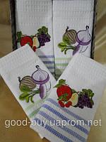 Комплект из 4 хлопковых полотенец с вышивкой Nilters 4шт. 100% cotton Турция